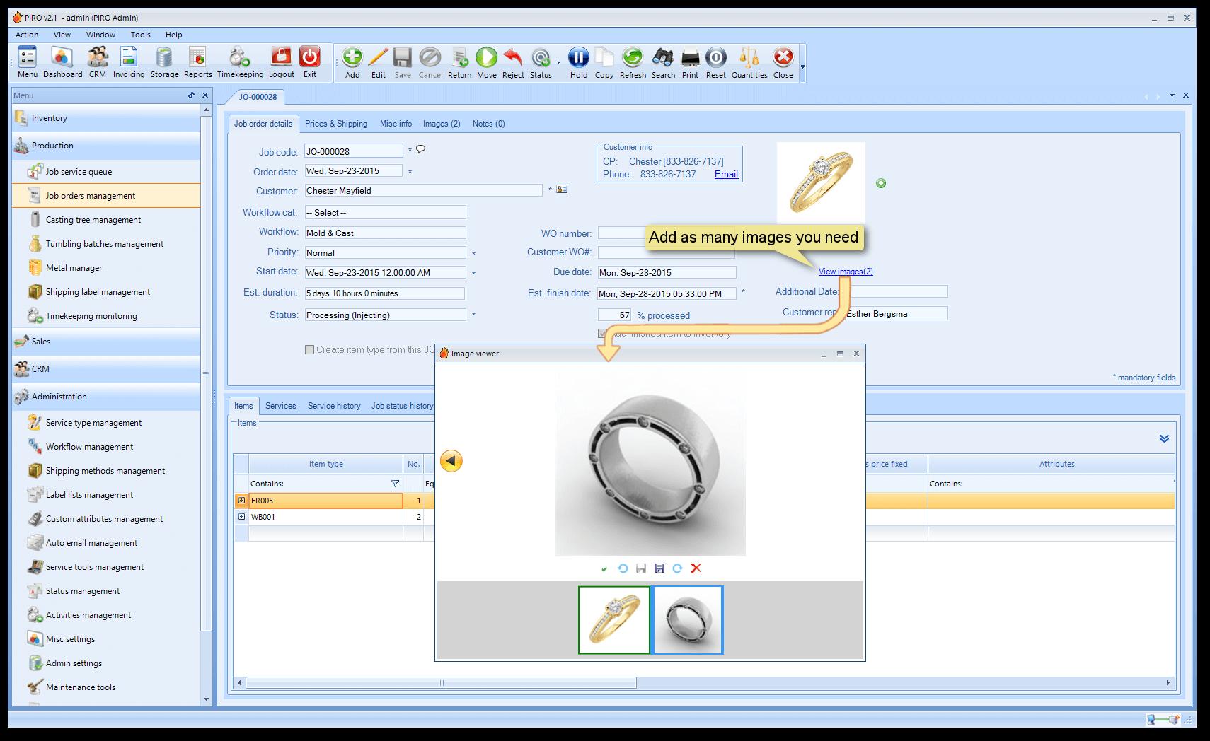 Jewelry manufacturing | PIRO jewelry software