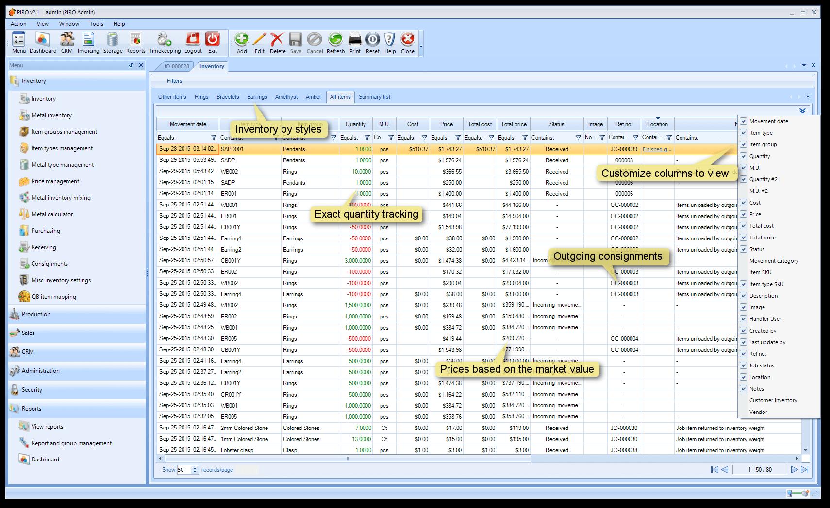 Inventory management | PIRO jewelry software